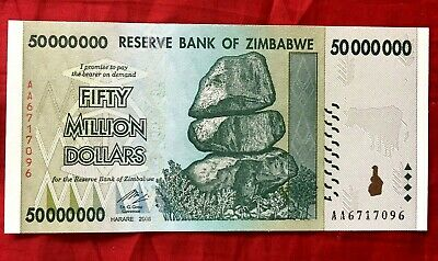 Zimbabwe 50 Million Dollar Very Rare Banknote Real Unc Note Aa 100T Ser Currency