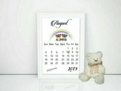 Pregnancy Announcement Calendar RAINBOW Baby Due Date PRINTED Size A4