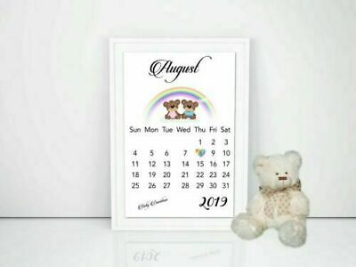 Pregnancy Announcement Calendar RAINBOW Baby Due Date Personalised Size A4