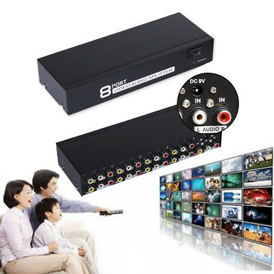 8In1 Out Composite Video Audio 3RCA AV Switch Switcher Selector Splitter Box Set