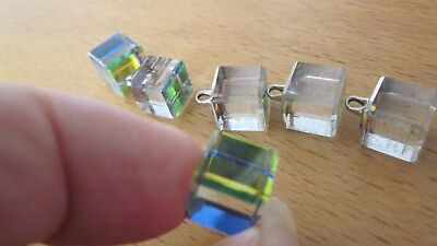1950,s vintage crystal cube buttons by D.S and Co (Swarovski)NewOldStock