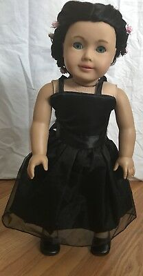 American Girl~OOAK~Beautifully Custom Ebony Black wig~sparkling Blue eyes