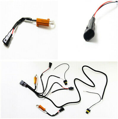 Dual Resistance Fault Decoder HID Wiring Harness For H1 H3 H7 H10 H11 9005 9006