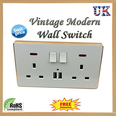 Double Wall Plug Socket 2 Gang 13A with 2 USB Charger Port Outlets Slim Plate UK