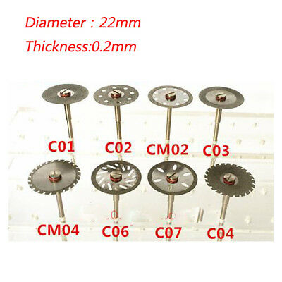 3pcs 0.2mm Dental Rotary Tool & Mandrel Diamond Polishing Wheel Solid Saw Disc