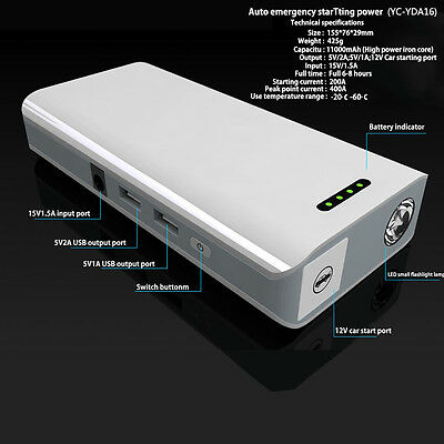 11000mAh Power Bank Booster Battery Charger 12V Car Jump Starter Auto-Emergency