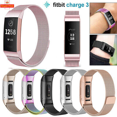 Hot Fitbit Charge 3 Strap Replacement Milanese Watch Band Stainless Steel Magnet