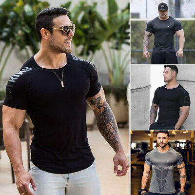 Mens Fitness Tight T Shirt Gyms Men Fitness Crossfit Summer Tees Tops Casual Top