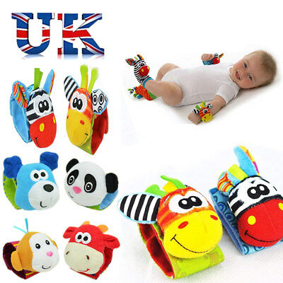 New Born Baby Socks Wrist Bands Rattle SOUNDS Rattling Sensory Toy For UK Baby.