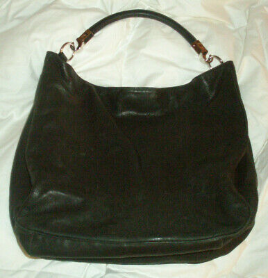 4f72789ebe42 YVES SAINT LAURENT vintage black leather ROADY sac SLOUCH HOBO BAG TOTE  italy