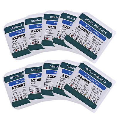 10 Box AZDENT Dental Endodontics NiTi File Super Rotary File 21mm For Engine Use
