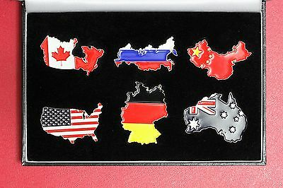 Somalia 2013 Australia Germany Canada China Russia USA enamelled Map Flag $ Coin