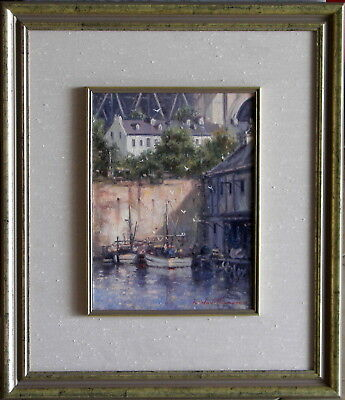 Ramon Ward Thompson (1941-) Original Oil Painting Dawes Point Sydney Harbour
