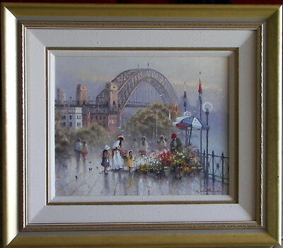Ramon Ward Thompson (1941-) Original Oil Painting Circlular Quay Sydney Harbour
