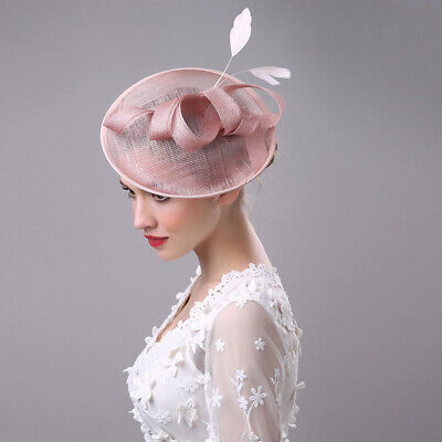 New Lades Fascinator Wedding Hatinator Races Formal Occasion Hats Feather Pink
