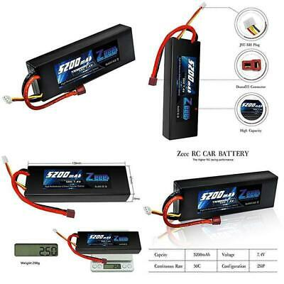 Zeee 5200Mah 7.4V 2S 50C Lipo Battery Hard Case With Deans T Plug For Rc Car Los