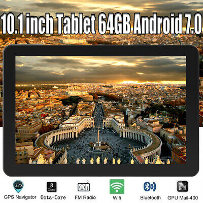 10.1 inch Tablet PC Android 7.0 64GB Octa-Core WIFI GPS Dual Camera Bluetooth UK