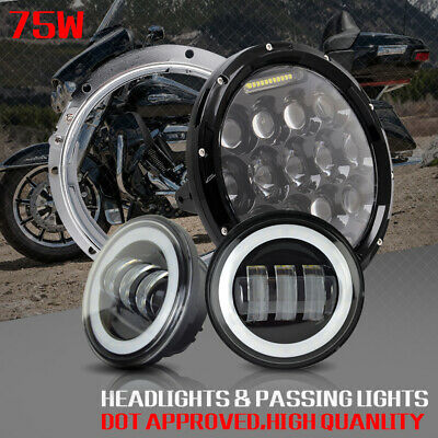 "7"" LED Headlight Passing Light For Harley Electra Glide Ultra Classic FLHTCU CA"