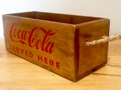 COCA - COLA  retro style wooden storage crate with rope handles. coke crate