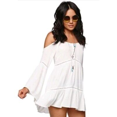 7ecad22ffae3f Kendall   Kylie Cold Shoulder Tunic Blouse White Bell Sleeves Boho Size  Small