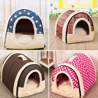 Travel Pet Basket Bed Indoor House Cosy Cat Puppy Dog Kennel Igloo Mat Pad Home