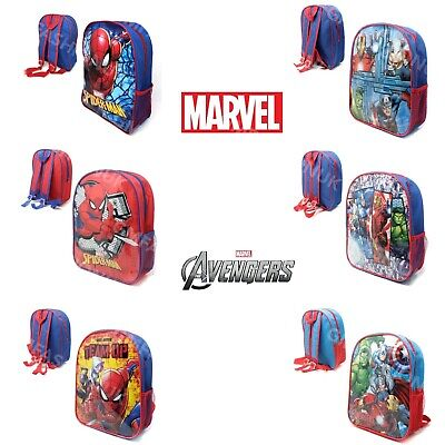 Kids Boys MARVEL AVENGERS SPIDERMAN COMIC Backpack School Bag Rucksack Character