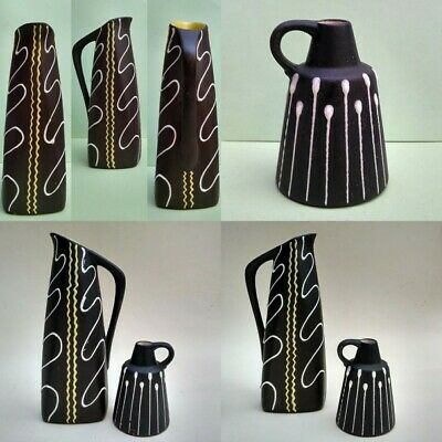 Two West German Pottery Mid Century Squiggle Pitcher Vase Pot Bay ? Bodo Mans ?