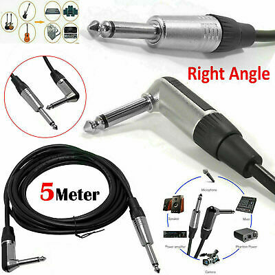 5m Right Angled MONO Jack to Plug 6.35mm 1/4 inch Guitar Keyboard Amp Cable Lead