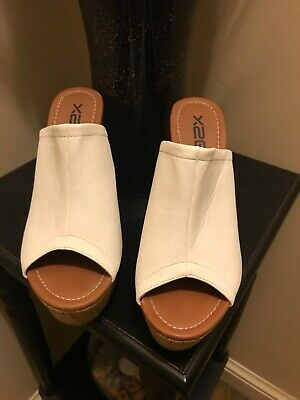 15e0a4540b611d Womens Shoes Heel Wedge Cork White Sandals Size 9M Leather