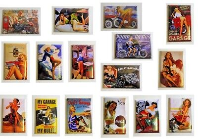 "Lot 32 Magnet Aimant  Pin-Up ""Vintage Route 66 Bar "" 54 mm sur 78 mm Neuf"