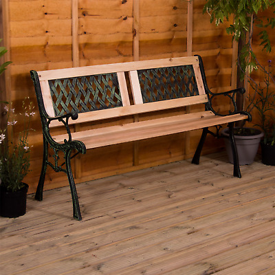 Garden Bench 3 Seater Cast Iron Wood Outdoor Chair Seat Furniture Twin Cross