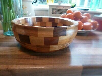 Vintage 1950's Art Deco Style Large Wooden Bowl-Cambridge Ware Fruit Bowl