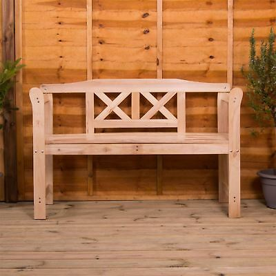 Garden Bench 3 Seater Natural Wood Outdoor Patio Porch Chair Seat Furntiure