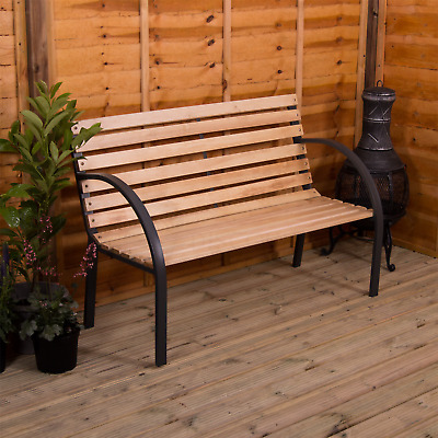 Slatted Garden Bench 3 Seater Wood Steel Outdoor Patio Chair Seat Furniture