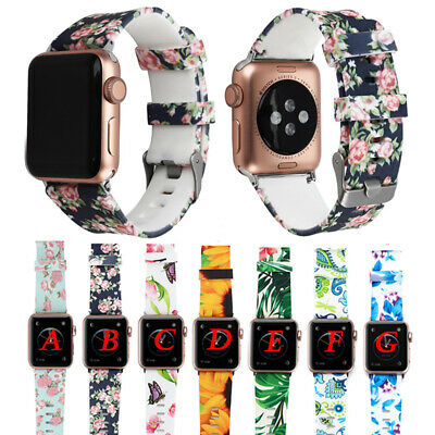 Floral Sport Silicone Strap Bracelet Band For Apple Watch iWatch Series 4 3 2 1