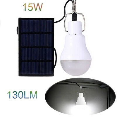 Solar LED Light Bulbs Portable Indoor Outdoor Shed Tent Camping Hanging Lamp 15W