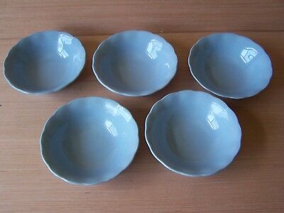 Vintage English Soup/Cereal Bowls Grindley Lupin Petal Blue c 1940-59