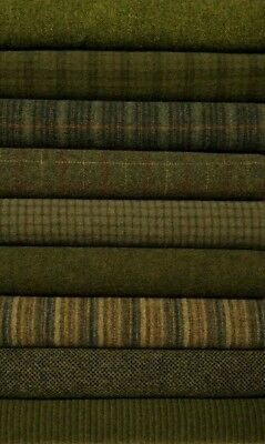 """HAND DYED RUG HOOKING WOOL Mill-Dyed APPLIQUE """" GREEN BUNDLE"""""""