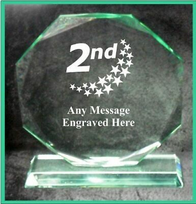 Glass 2Nd Place 10Cm Octagon Award Trophy Ga1039 Engraved Personalised