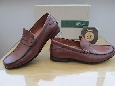 cbbbfee6d76 CLARKS GENT TOP Mens Formal Dark Tan Leather Penny Loafer Shoes Size 6.5 Eu  40 - EUR 32