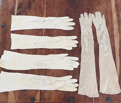 3 Pairs Antique French Opera Gloves Kid Leather Long 1887? Small 19th Century