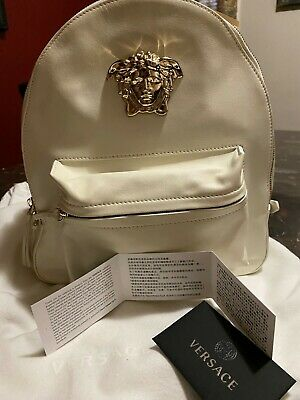 df03c33994 Authentic Versace white leather backpack Medusa Head plaque gold metal  hardware