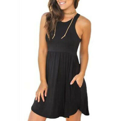 Summer Sleeveless Casual Round -neck Solid Color Loose Large Size Women Dress LH