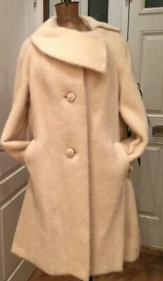 Fab 50s 60s Off White 100% Mohair Coat Princess Collar Large Buttons SIZE 12 14