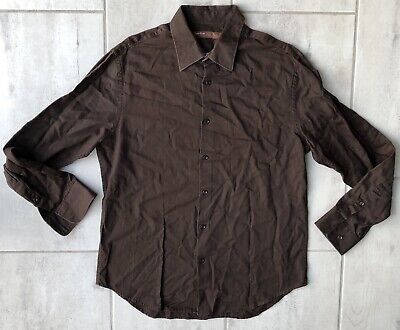 Clothing, Shoes & Accessories Shirts Perry Ellis Men Large Stripe Dress Shirt Black Long Sleeve French Cuff *5k