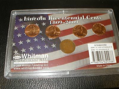 2009-P- 4 coin Lincoln bicentennial with 1909-P wheat penny