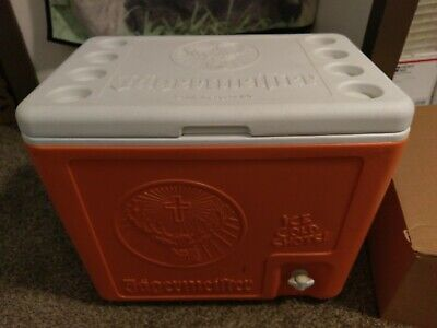 Jagermeister Cooler With Outside Tap Inside Trays Handles Orange