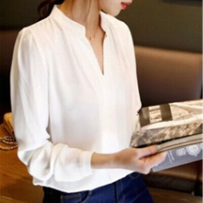Women V-Neck Long Sleeve Chiffon Loose T Shirts Ladies Solid Casual Blouse LH