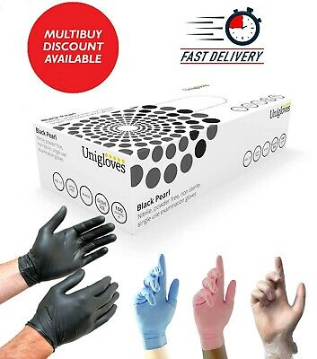 Nitrile Black Disposable Gloves Powder Free Tattoo Car Valeting Mechanic 100