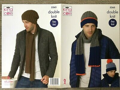4a35e797961 KING COLE 3296 Mens Hats Scarves DK   Chunky Knitting Pattern ...